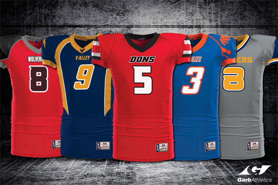 Football Uniforms  - just a few out of the hundreds of styles available